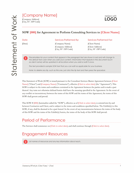 Statement Of Work Red Design Statement Of Work Word Template