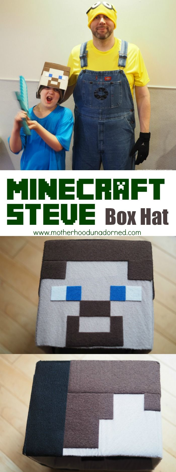 Tutorial DIY Minecraft Steve Box Hat Costume/Halloween costumes plus Minecraft inspired  sc 1 st  Pinterest & Tutorial DIY Minecraft Steve Box Hat Costume/Halloween costumes ...