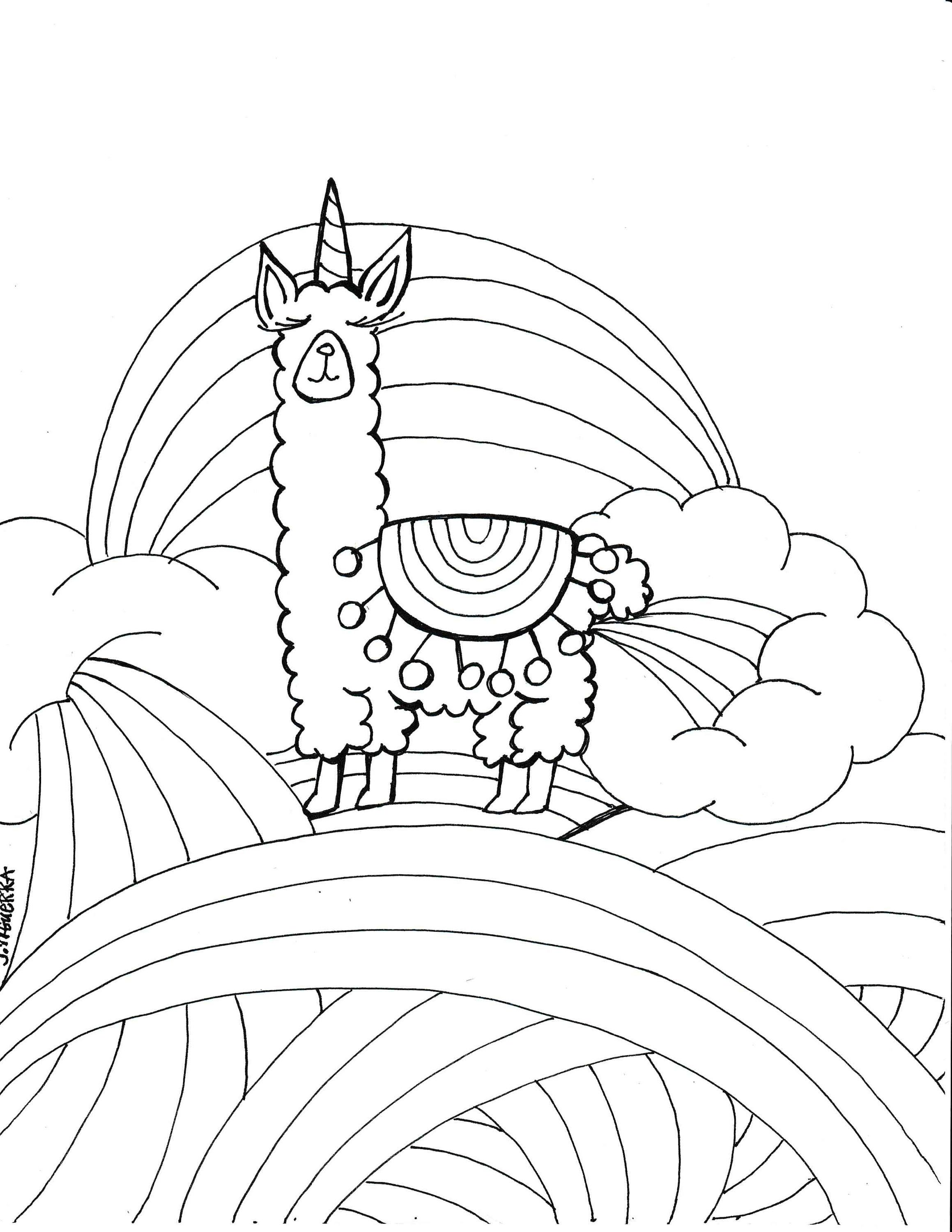 Llamacorn coloring page PDF printable art by Journalingart