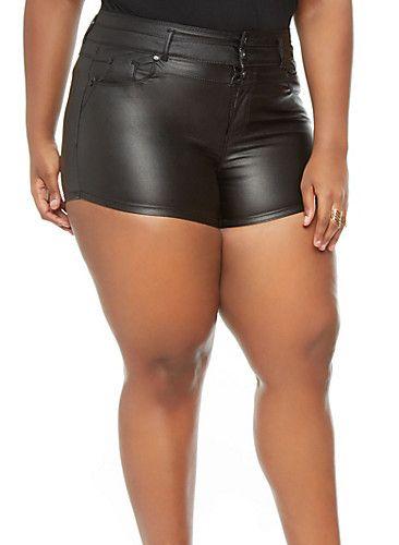 plus size leather shorts