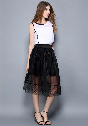 2 Piece Set Women Top Sleeveless Shirt Skirts Summer White Mesh Lace