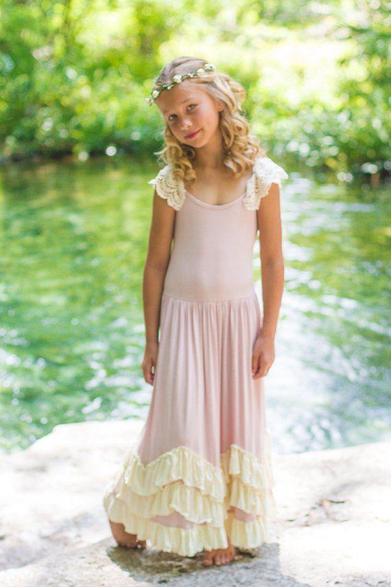 d77e6ddd Flower Girl Dress, Boho Flower Girl Dress-Vintage Flower Girl Dress- Junior  Bridesmaid Dress- Twirli