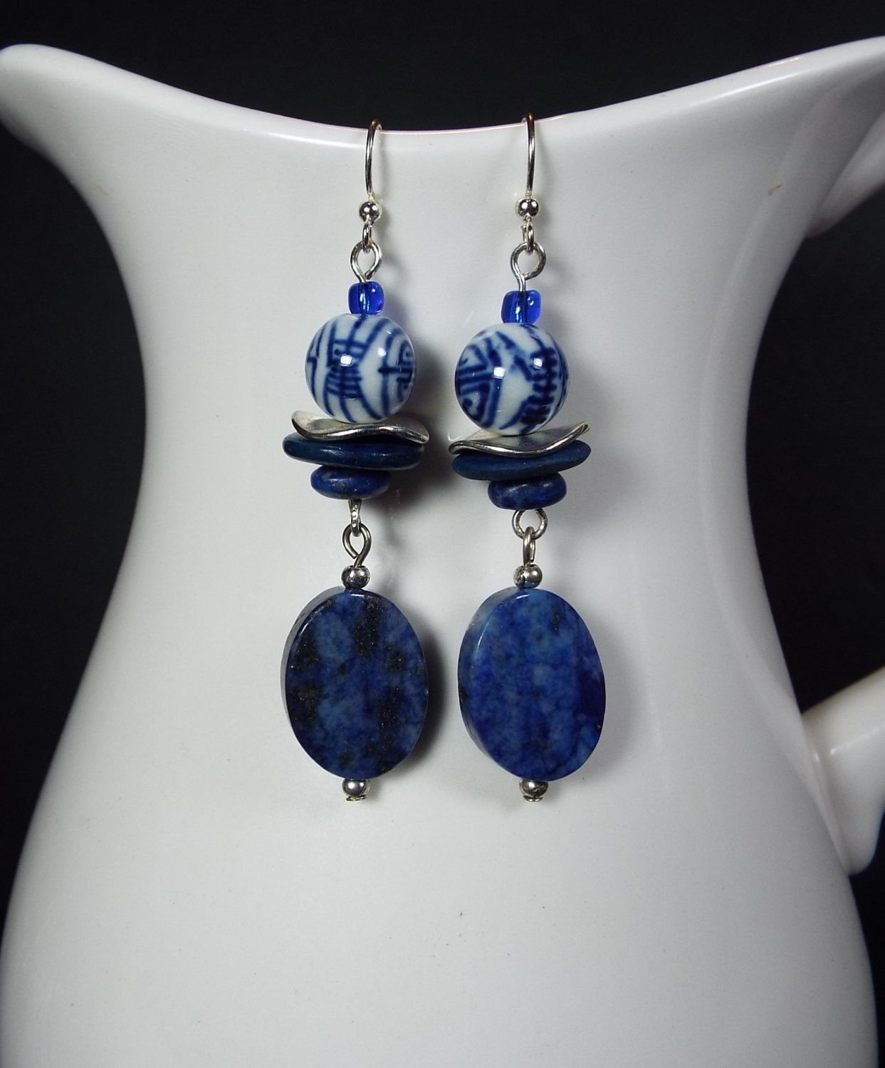 Blue Lapis Lazuli and Ceramic Chinese Bead Earrings by WingedPennyDesigns on Etsy