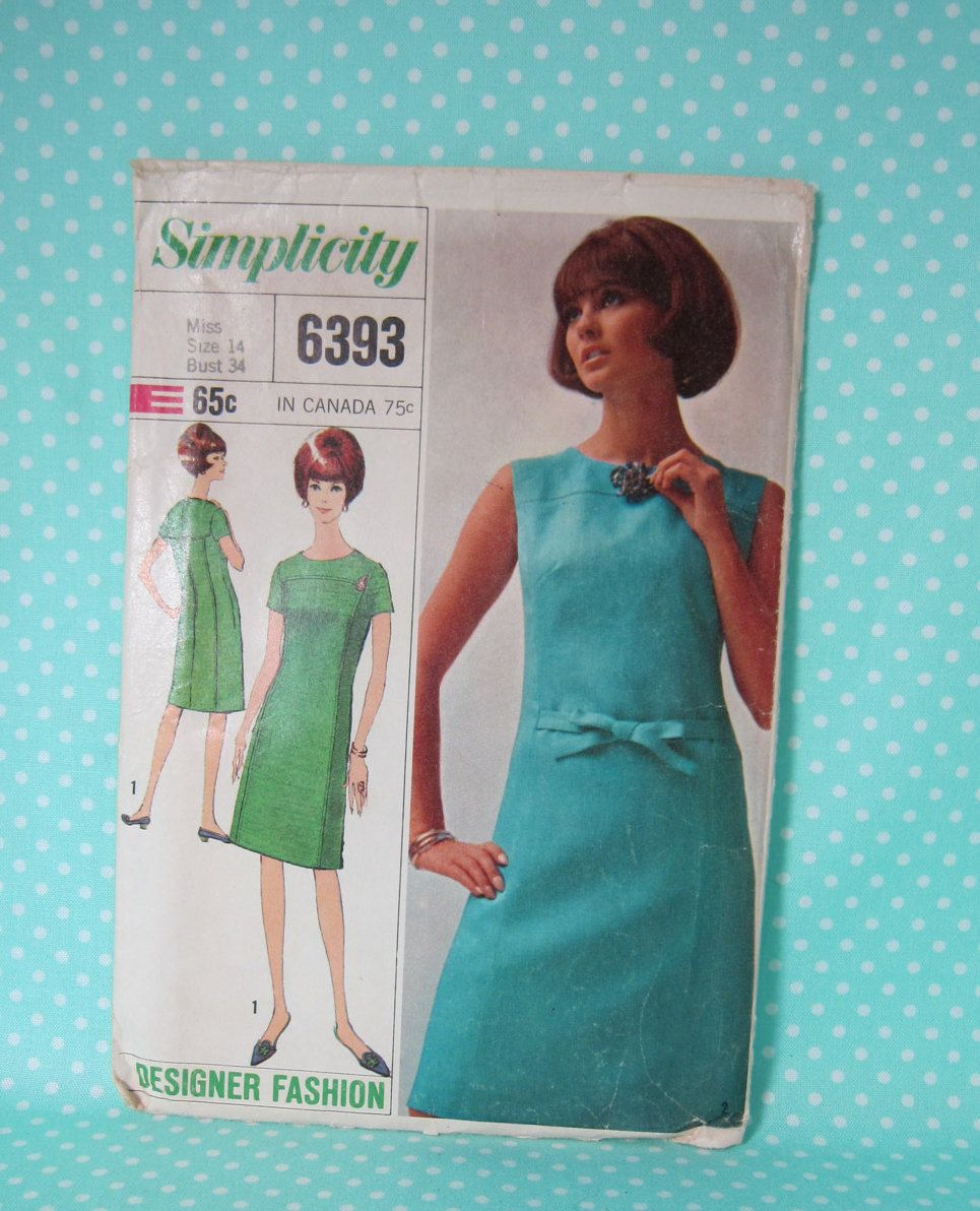 Vintage Dress Pattern 1966 Simplicity 6393 Size 14 Bust 34 Jackie O Kennedy Era Est Shipping By Fashionsew On Etsy