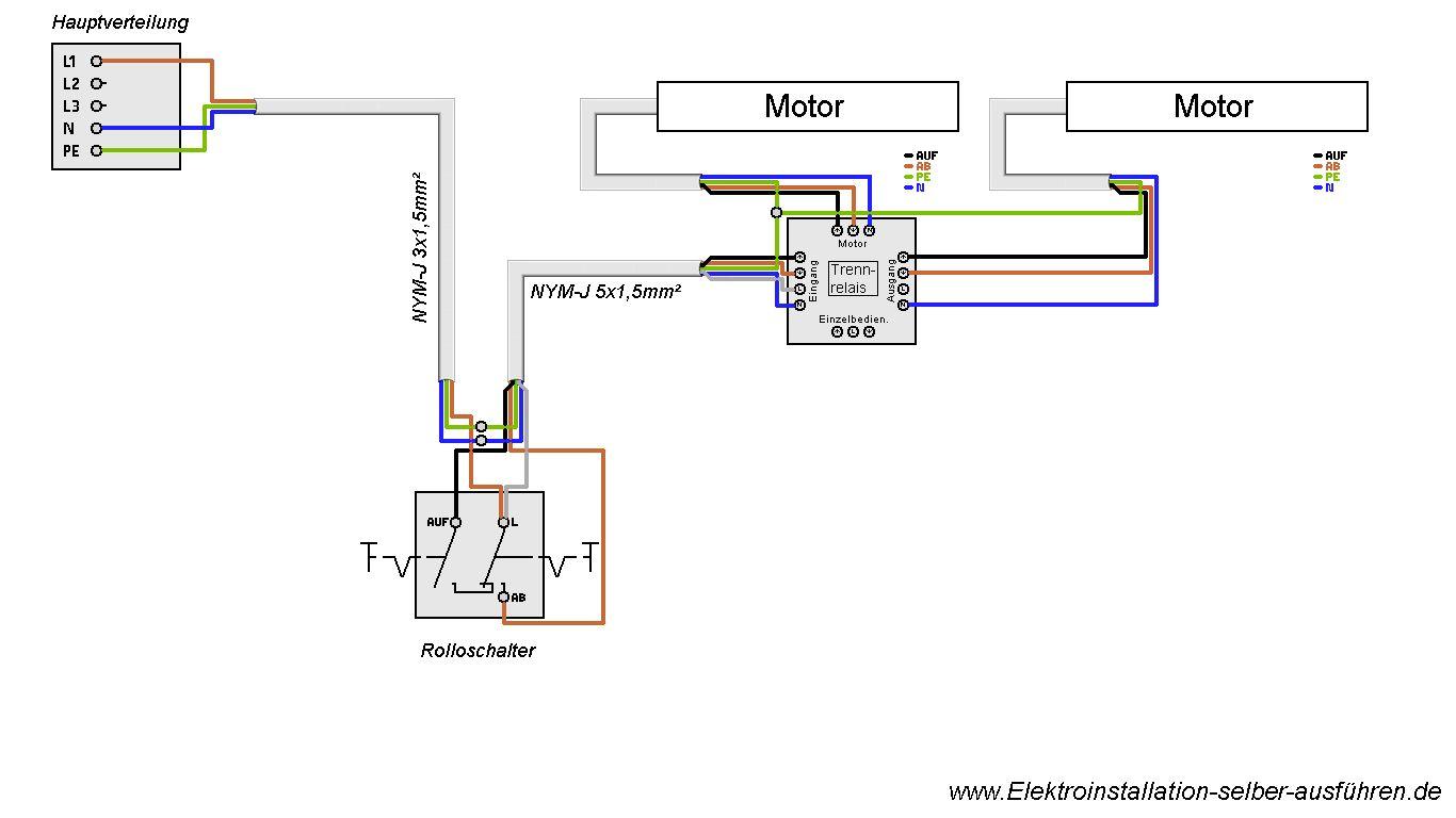 Schaltplan Eines Rolladen Mit Zwei Motoren Elektroinstallation Elektro Schaltplan