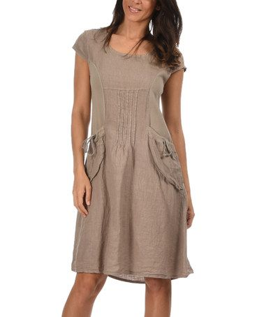 Another great find on #zulily! Taupe Elise Linen Dress by Couleur ...