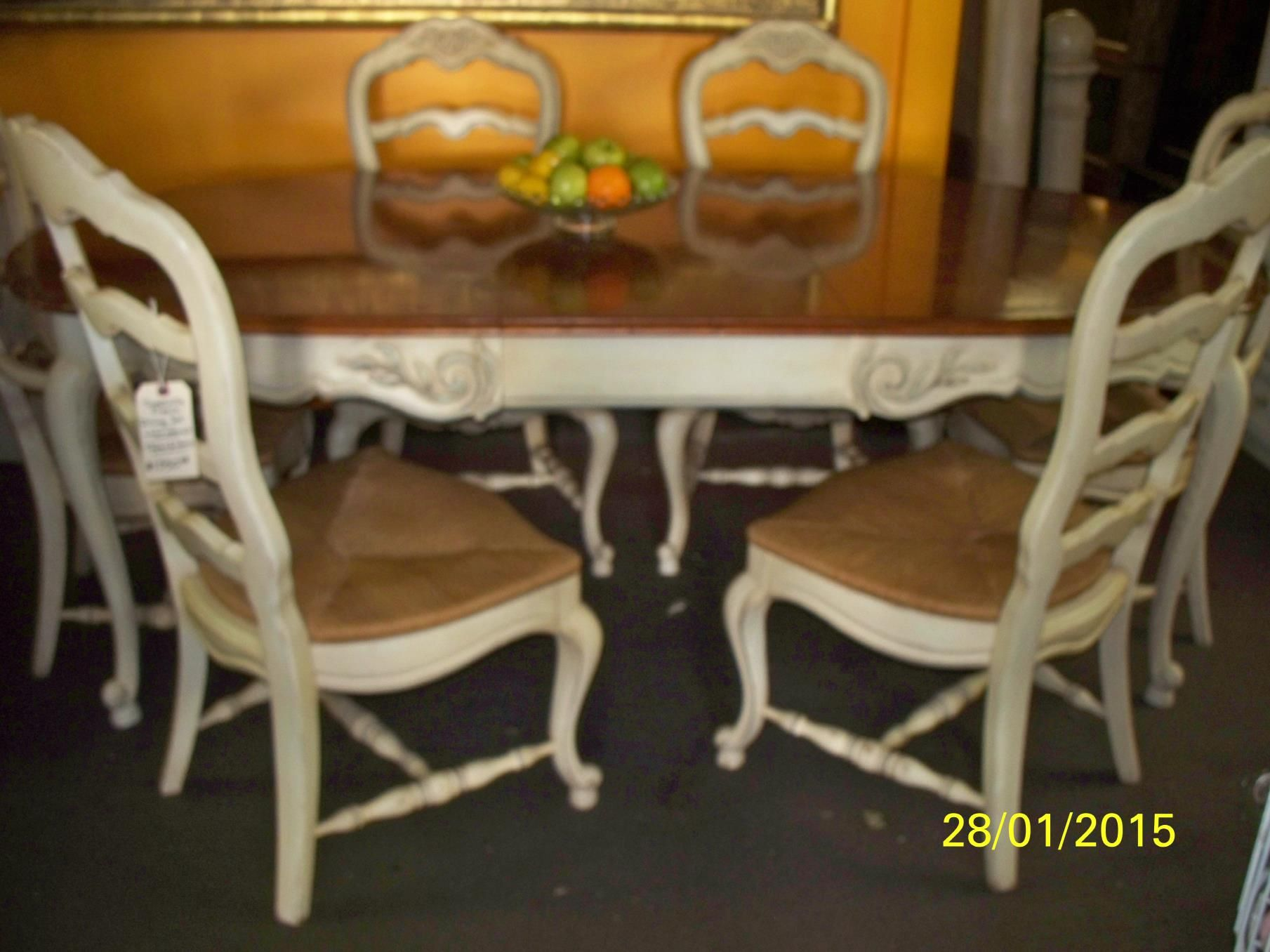 Thomasville French Dining Room Set Table And 6 Chairs China Cabinet 1350