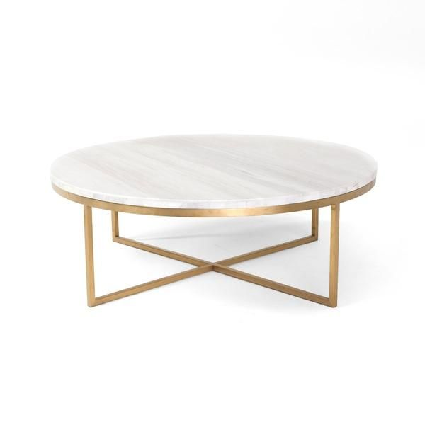 White Round Marble Gold Base Coffee Table Home