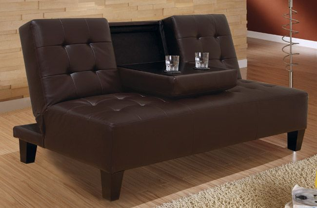 Bat Evita Dark Brown Futon Sofa Sleeper Bed W Cup Holder Monstermarketplace