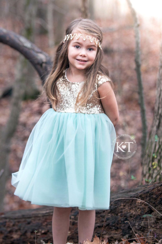 Mint and Gold Sequin Cap Sleeve Dress- Flower girl, Wedding ...