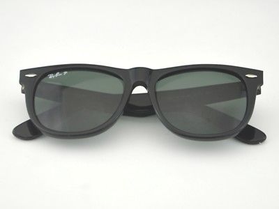 6825f95da12 RAY-BAN Sunglasses Wayfarer Black Frame Green Polarized G-15 RB2140 901 58  54mm Gender - Unisex