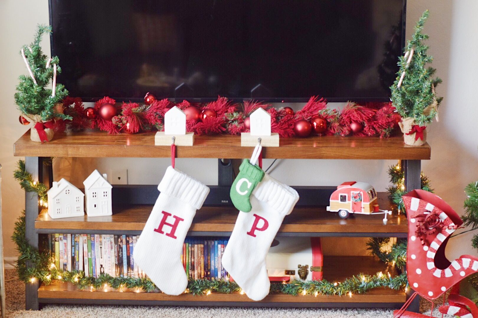 Christmas decorations on the TV stand
