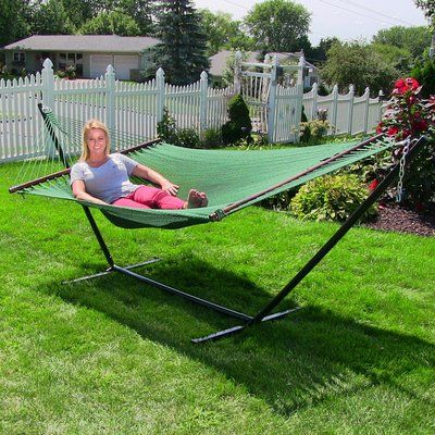 Medium image of sunnydaze decor large 2 person rope hammock with stand color  green