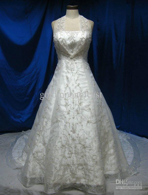 Discount White A Line Wedding Dresses Sheer Halter Straps Silver ...