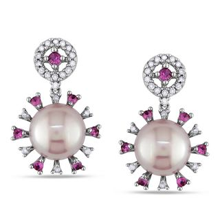 @Overstock - These one-of-a-kind earrings from the Miadora Collection feature 8-8.5 mm freshwater pink pearls and round-cut pink sapphires with round diamonds set in 18-karat white gold. The dangle earrings are secured with butterfly backs.http://www.overstock.com/Jewelry-Watches/Miadora-18k-White-Gold-Pearl-Sapphire-and-1-5ct-TDW-Earrings-G-H-SI1-SI2/7630678/product.html?CID=214117 $677.99