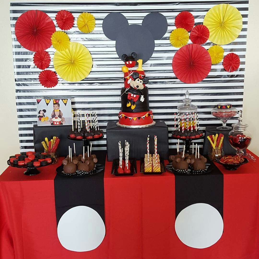 Mickey Mouse Birthday Party Dessert Table Mickey Mouse Party Decorations Mickey Mouse Parties Mickey Mouse 1st Birthday