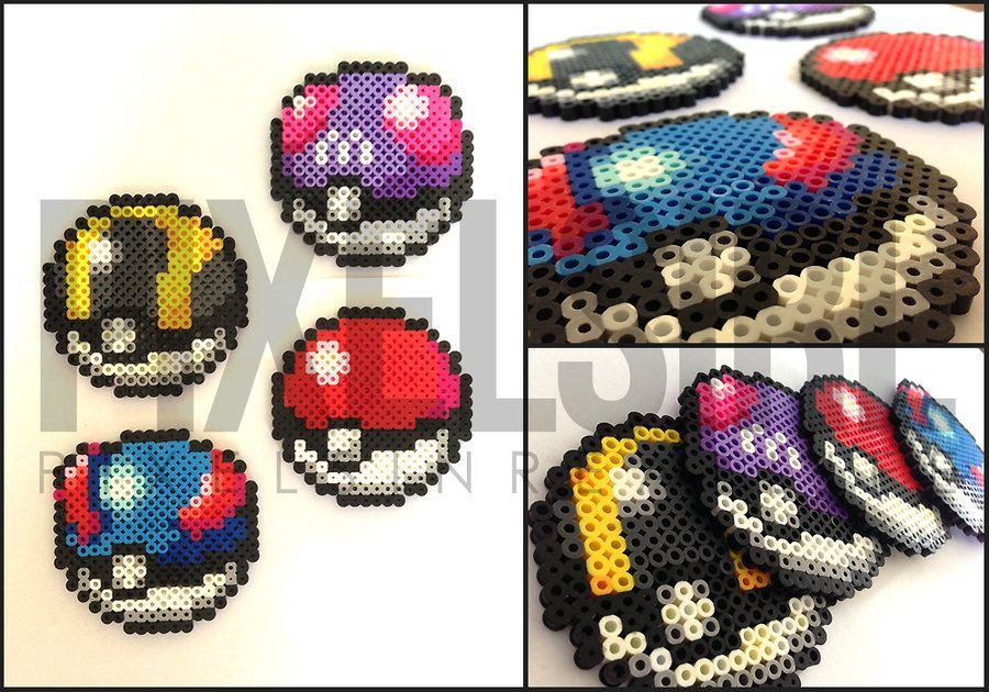Pokeball Set Perler Bead Art - Pokemon by pixelsirl.deviantart.com on @DeviantArt