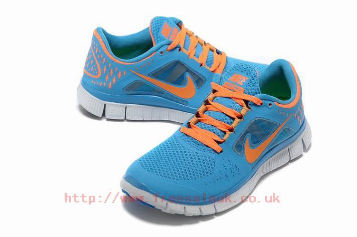 29ce92d173ef Womens Nike Free Run 3 Running Shoes Blue Glow Platinum-Total Orange Sale  Shp347
