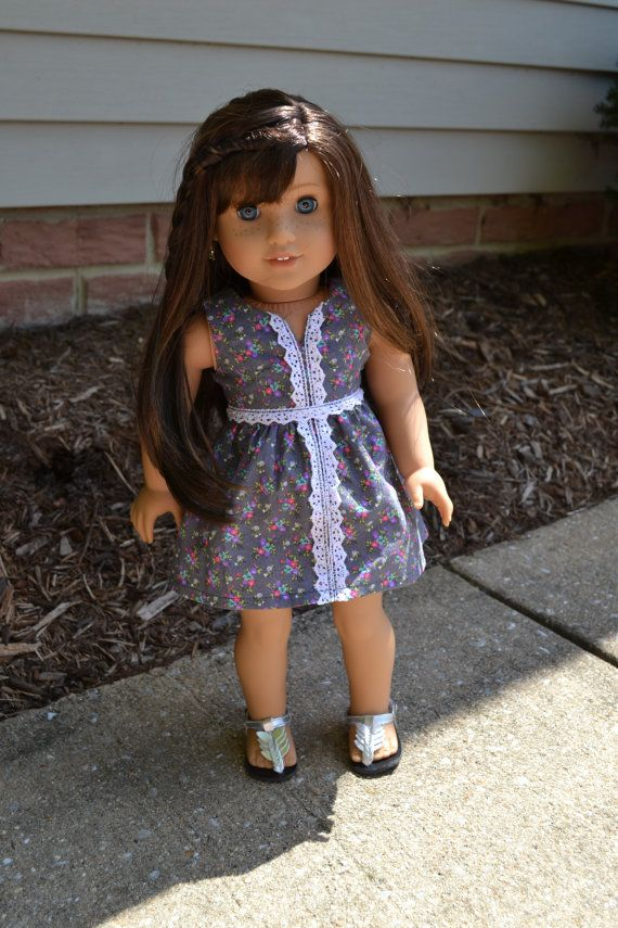 18 inch Doll Clothes - Grey Floral Dress - GRAY WHITE PINK - crochet ...