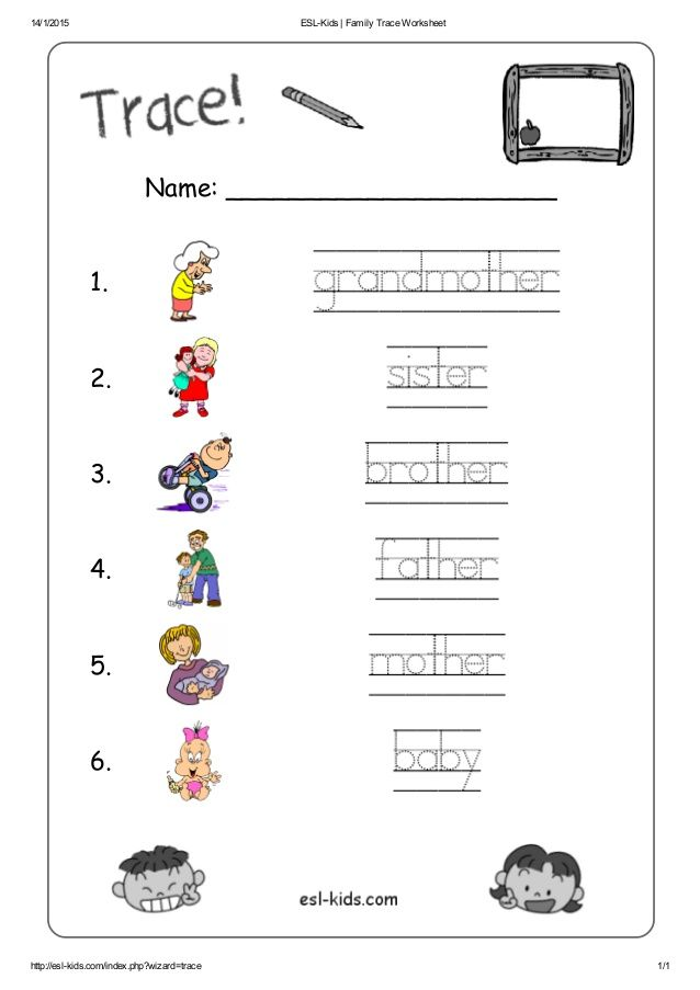 Esl Worksheets For Kids Family Esl Worksheets And Activities For