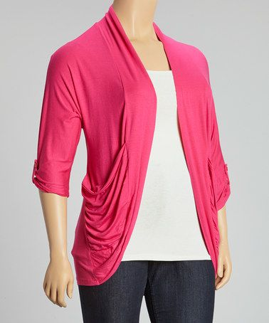 Loving this Magenta Button-Sleeve Open Drape Cardigan - Plus on #zulily! #zulilyfinds