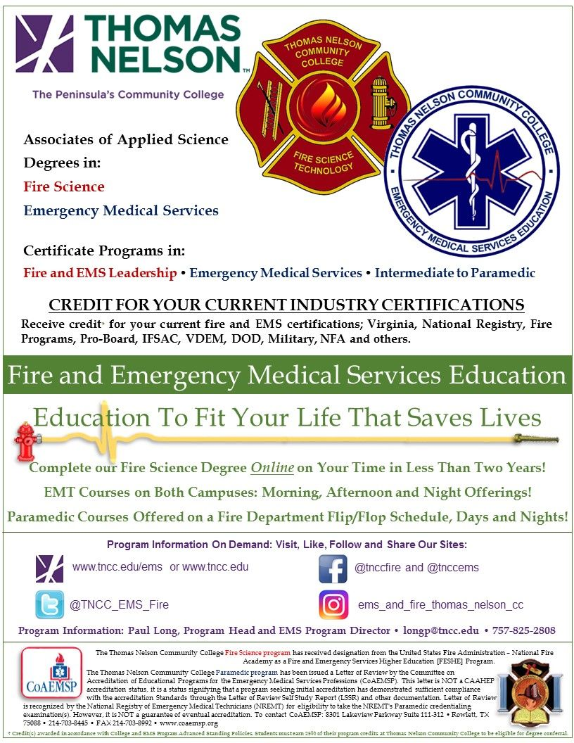 Pin By Thomas Nelson Community Colleg On Thomas Nelson Community College Fire Science Program Science Programs Science Degree Emergency Medical