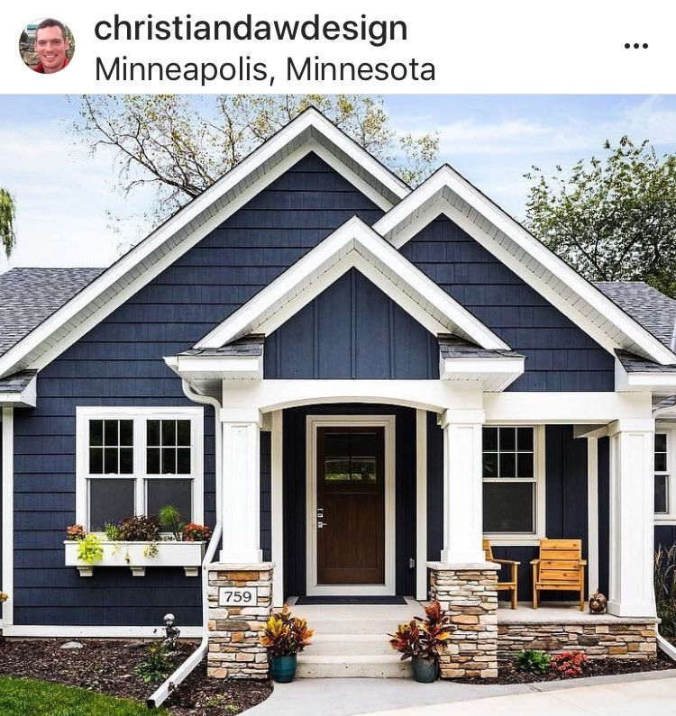 I Like The Blue And The Color Of The Stone I Would Do Off White In The South And Keep It White House Exterior Blue House Paint Exterior House Designs Exterior