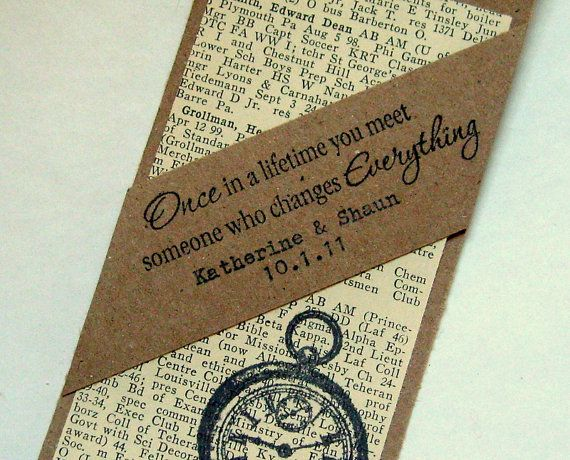 Custom wedding favor bookmark, rustic Hand Typed, RESERVED for ...