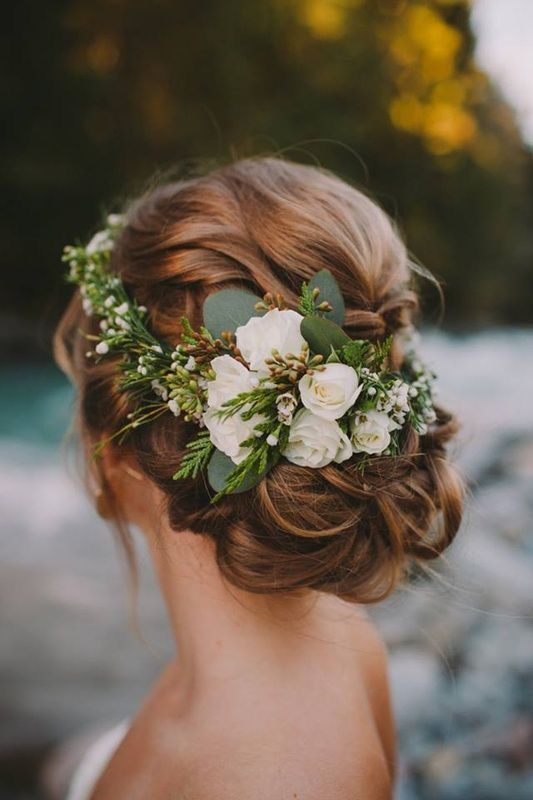 Elegant hair crown with baby roses, waxflowers and seeded eucalyptus