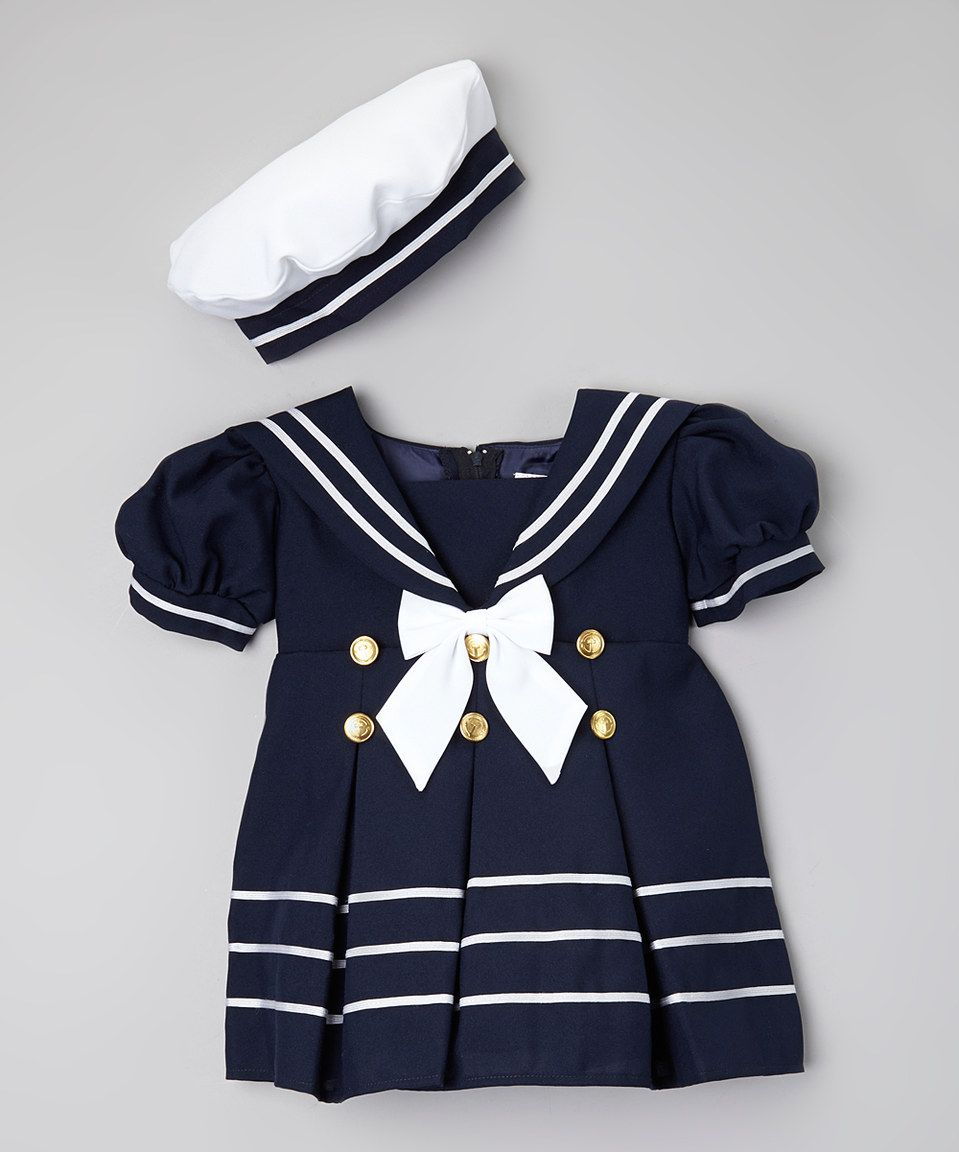 This Navy & White Sailor Dress & Beret - Infant & Toddler by Caldore is perfect! #zulilyfinds