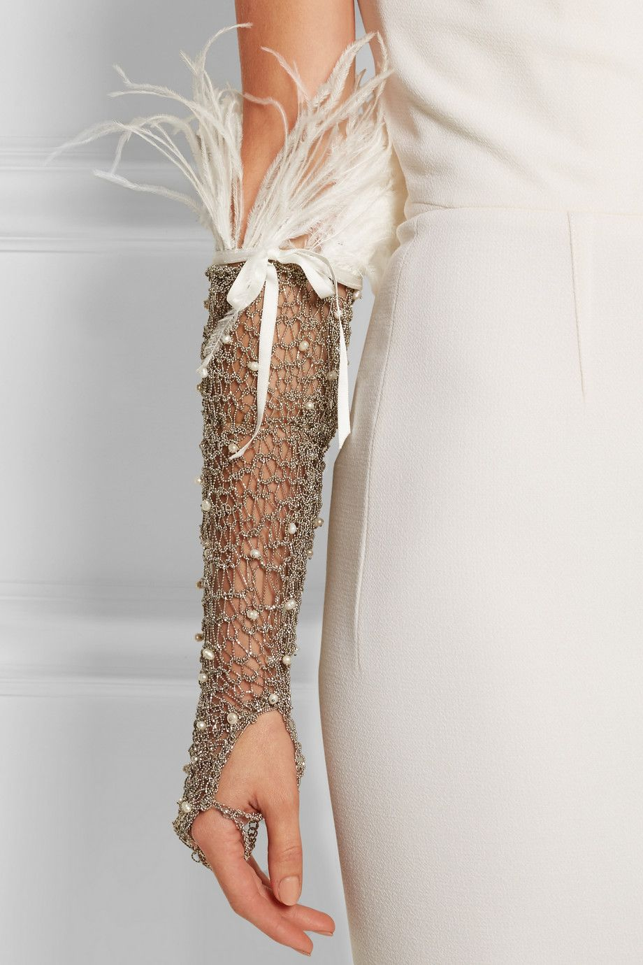 Rosantica   Giovanna palladium-tone, pearl and feather glove   NET-A-PORTER.COM