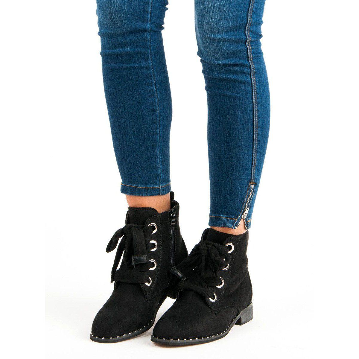Zamszowe Sznurowane Botki Czarne Boots Winter Boot Shoes