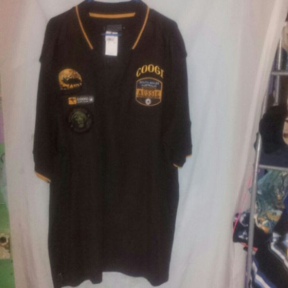 COOGI 3 XL BROWN / GOLD NWT PATCHED POLO New with tags Has