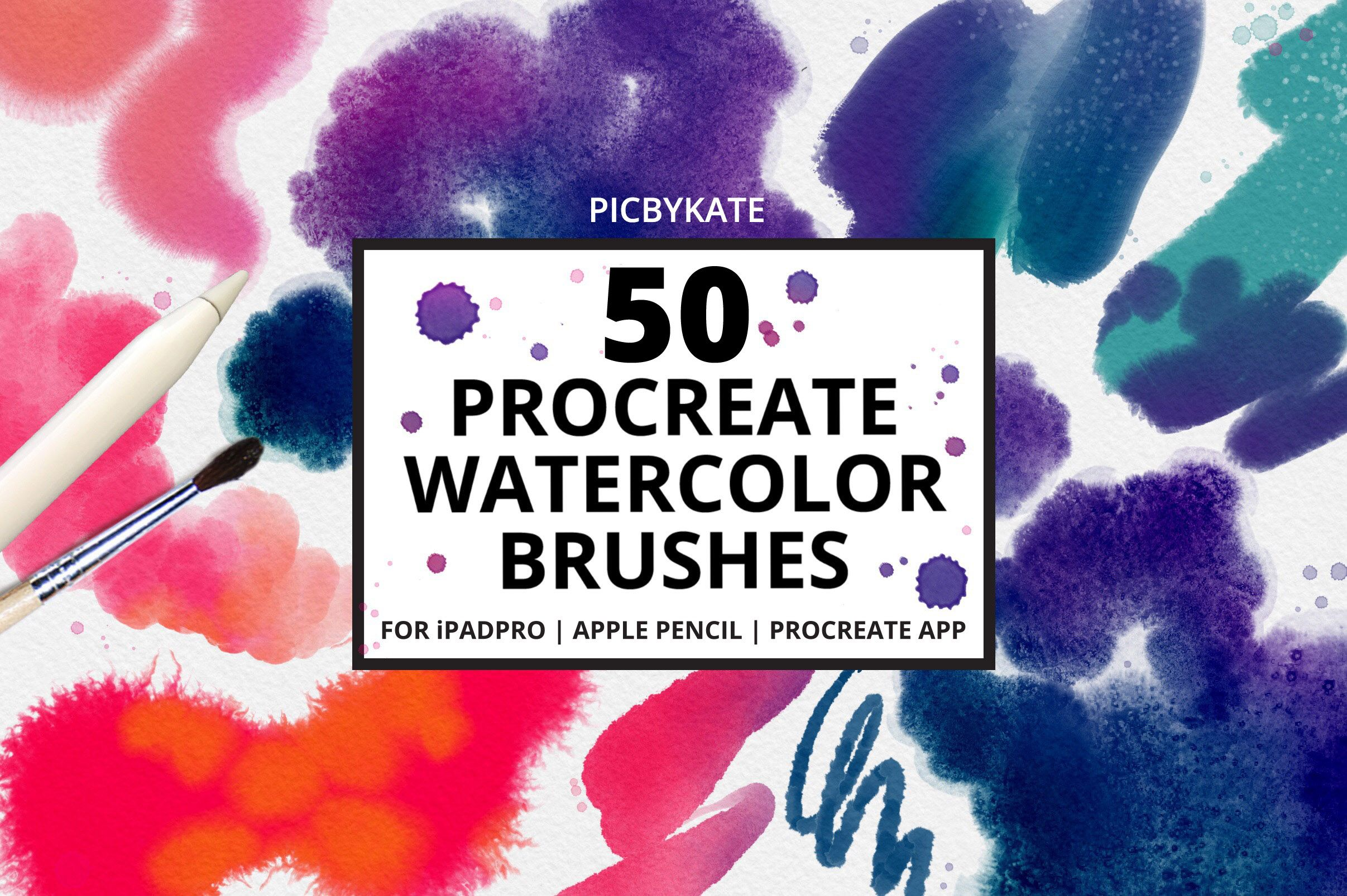 50 Procreate Watercolor Brushes Watercolor Brushes Lettering