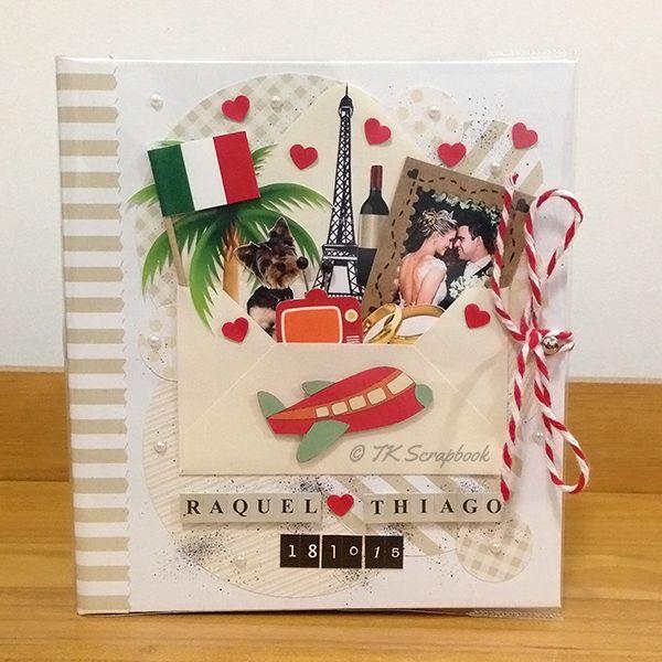 Álbum de fotos romântico em scrapbook (visão geral da decoração)