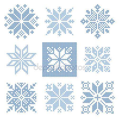 Punto de cruz los copos de nieve patrón, escandinavo — Vector de ...