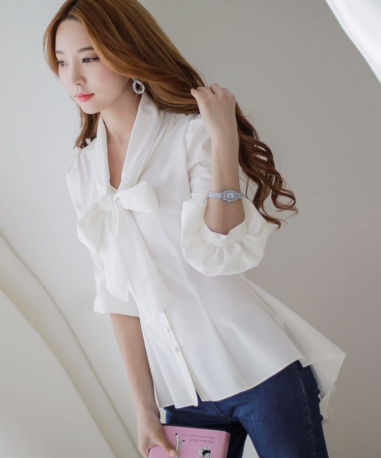 Mulheres gravata borboleta blusa de moda de nova 2015 outono sopro manga Chiffon das mulheres Tops estilo coreano mulheres escritório camisas projeto cauda de andorinha em Blusas de Roupas e Acessórios no AliExpress.com | Alibaba Group