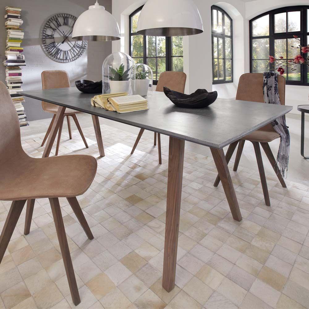 esstisch in beton grau nussbaum massiv jetzt bestellen unter. Black Bedroom Furniture Sets. Home Design Ideas