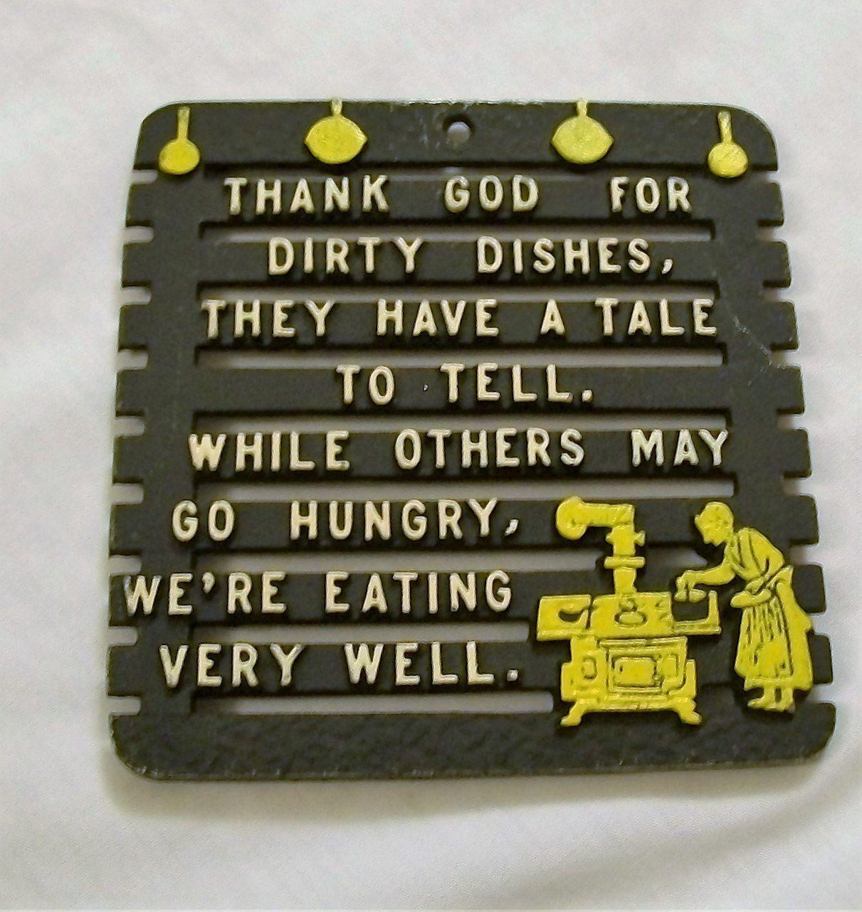 Vintage Metal Trivet, Metal Trivets, Thank God For Dirty Dishes, Kitchen  Trivet,