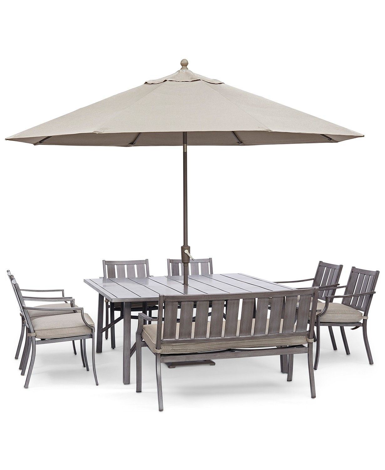 Wayland Outdoor Aluminum 8 Pc Dining Set 64 Square Dining Table