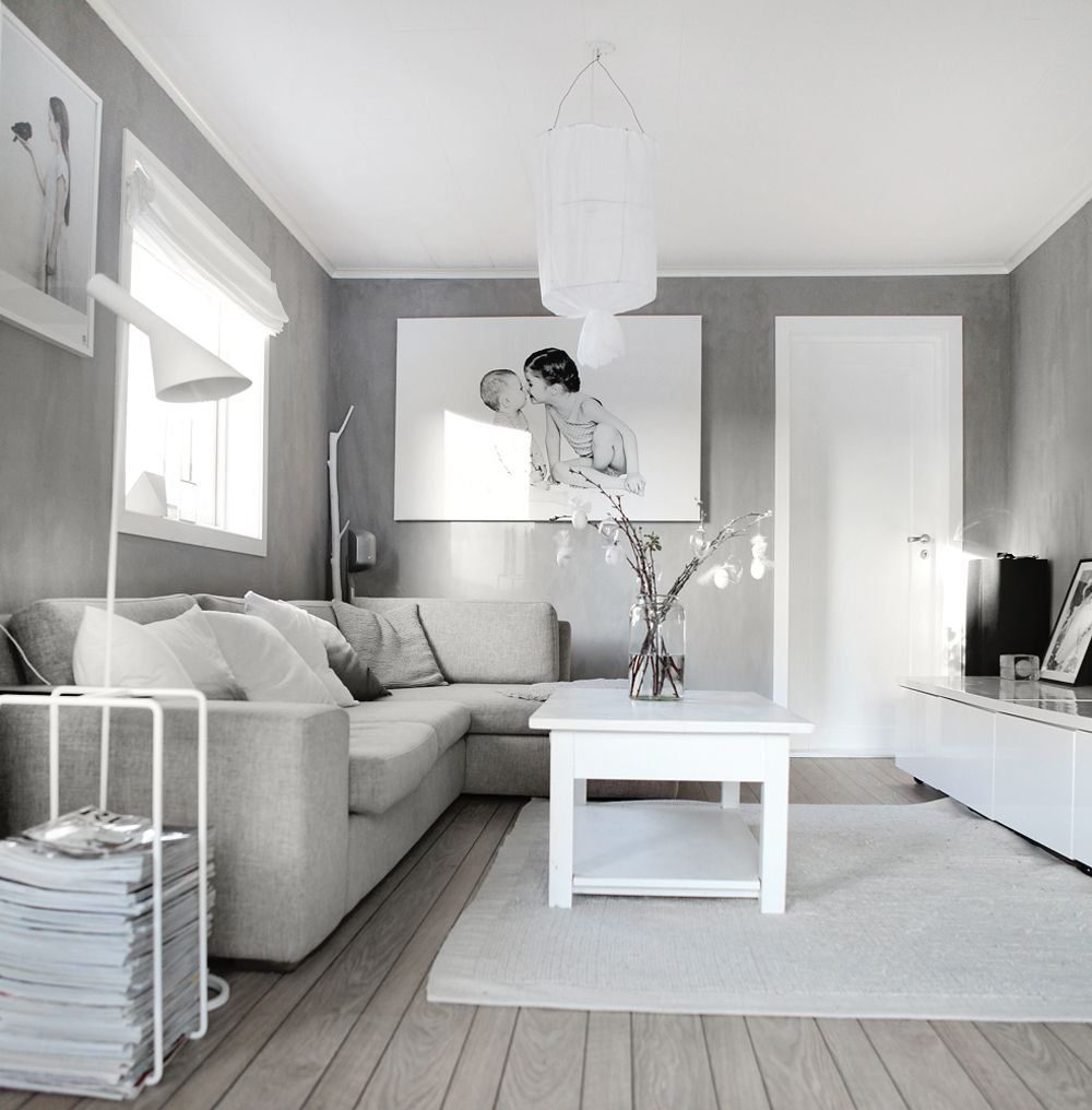 Decorate grey and white color for walls in living room