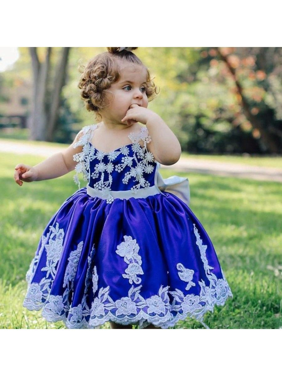 Baby Girl Birthday Party Blue White Princess Ball Gown Flower Girl ...