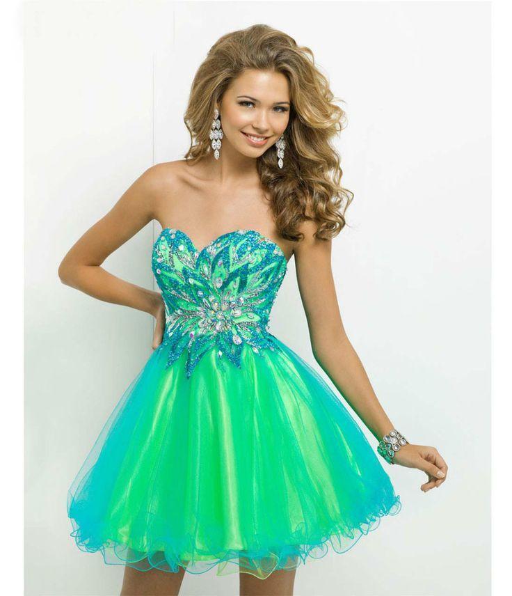 Vestidos de fiesta color turquesa cortos