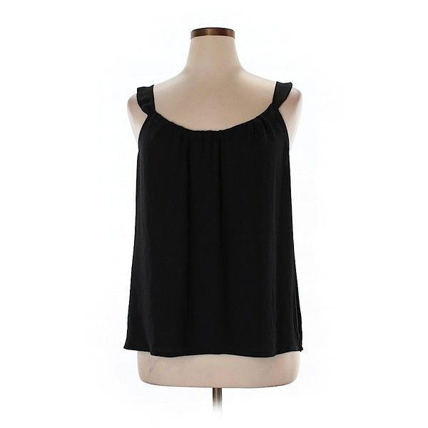 Pre-owned Ann Taylor LOFT Sleeveless Blouse Size 12: Black Women's... ($16) ❤ liked on Polyvore featuring tops, blouses, black, sleeveless blouse, sleeveless tops, loft tops and loft blouse
