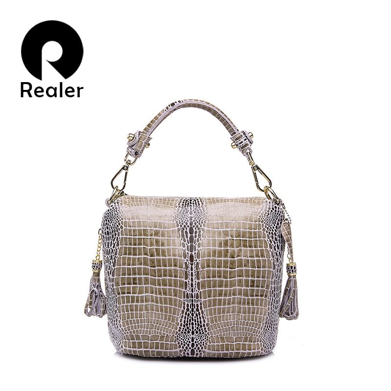 d0ce30b41534 REALER genuine leather handbags women small totes shoulder crossbody bags  ladies classic serpentine pattern leather bucket bag Review