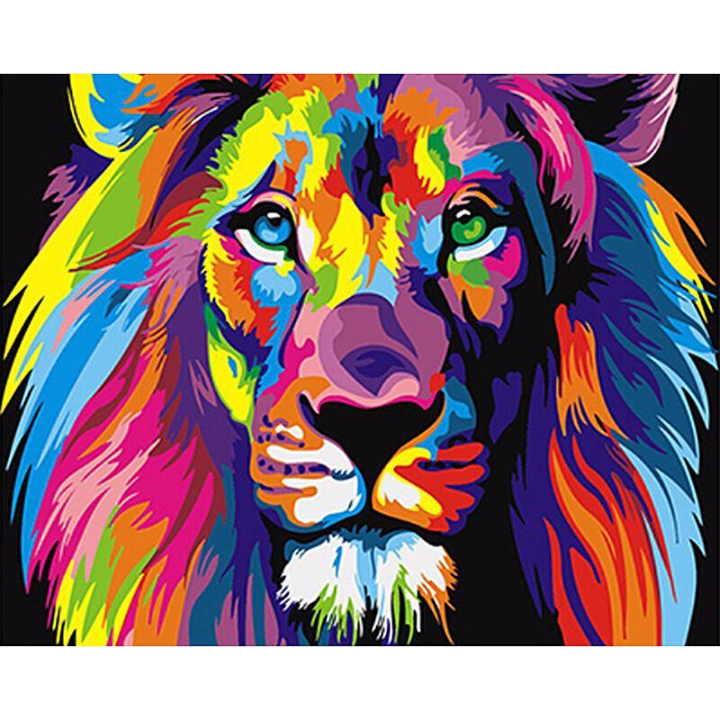 Peinture Par Numeros Le Lion Multicolore Peinture De Lion