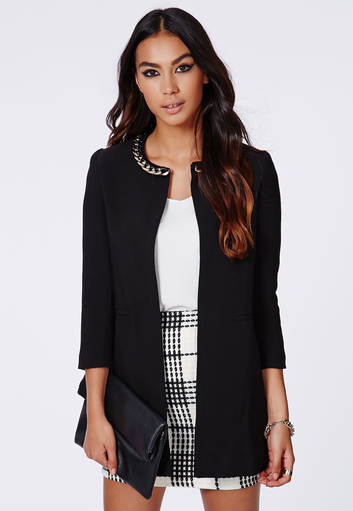 Jasmin Chain Neck Collarless Jacket - Jackets - Missguided ...