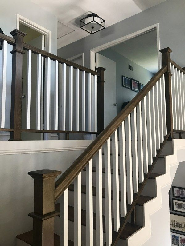 Best Traditional Stained Stair Railing With Painted White 400 x 300
