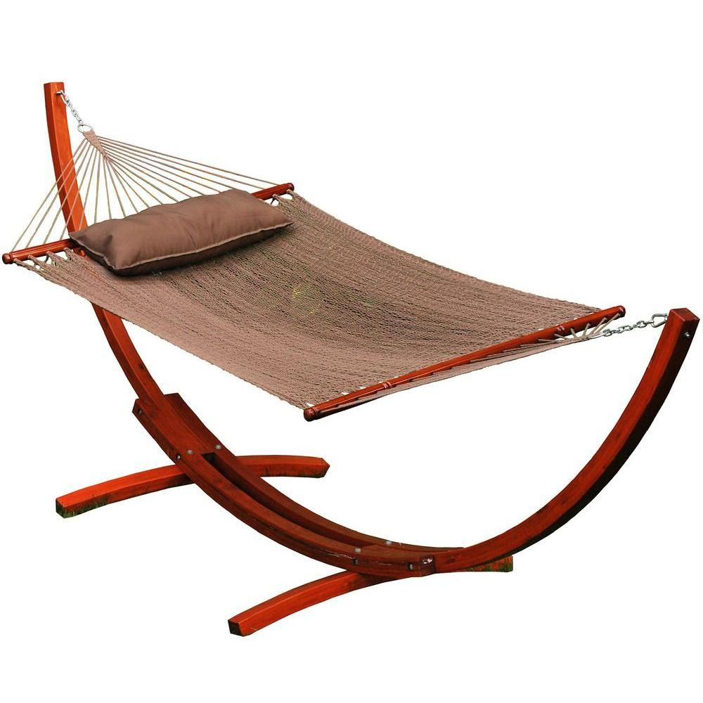 Algoma ft caribbean polyester rope hammock with wooden arc stand