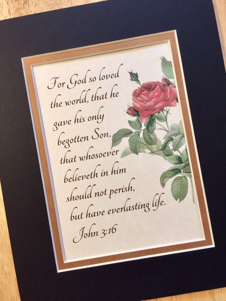 Gods greatest gift john 316 matted calligraphy wall art